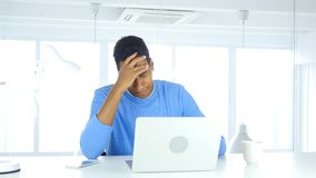 Headache, Tension and Stress for Afro-American Man. 4k , high quality Royalty Free Stock Images