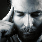 Headache or think meditation concept Stock Photo