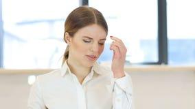Headache, Tired Upset Woman. Headache, Tense Woman in Office,4k  high quality stock video