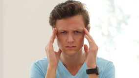 Headache, Tired Young Man Portrait stock footage