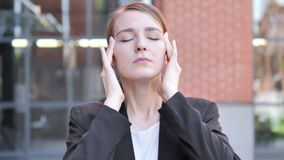 Headache, Uncomfortable Stressed Young Businesswoman stock footage