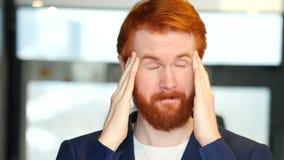 Headache, Upset Businessman Portrait. Designer , young man , handsome stock video