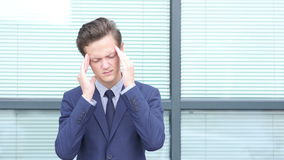 Headache, Upset Gesture by Young Businessman stock footage