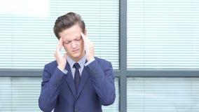 Headache, Upset Gesture by Young Businessman. Creative designer , businessman stock footage
