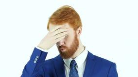 Headache, Upset Red Hair Beard Businessman. Designer , young man , handsome stock video