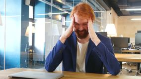 Headache, Upset Tense Man in Office stock footage