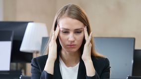 Headache, Upset Tense Woman in Office stock video