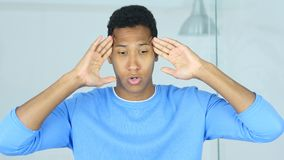 Headache, Upset Tense Young Afro-American Man stock photography