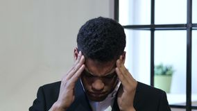 Headache, Upset Tense Young Black Businessman. Young creative designer , good looking stock footage