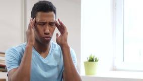 Headache, Upset Tense Young Black Man. Young creative designer , good looking stock video