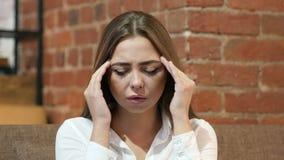 Headache, Upset Tense Young Girl. Young creative designer , good looking stock video