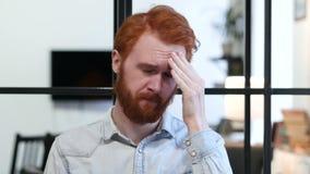 Headache, Upset Tense Young Man. Young creative designer , good looking stock video
