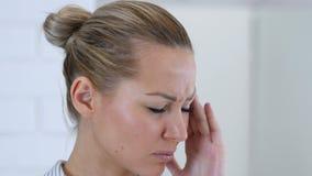 Headache, Upset Woman Close Up. 4k  high quality stock video