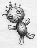 Headache voodoo doll sketch. Hand drawn pencil sketch of a headache or migraine pictured as voodoo doll with lots of sharp pins in its head Stock Photos