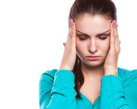 Headache. Woman having Headache. Royalty Free Stock Photos