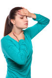 Headache. Woman having Headache. Sick. Flu Stock Photos