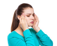 Headache. Woman having Headache. Sick. Flu Royalty Free Stock Photos
