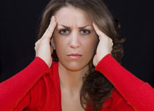 Headache. Woman puts hands on the head.Concept of problems and headache Royalty Free Stock Photo