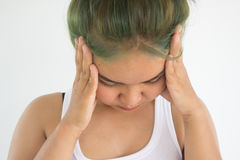 Headache woman or stress woman. On white background Royalty Free Stock Photo