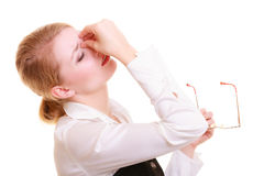 Headache. Woman suffering from head pain isolated. Headache, migraine and sinus ache. Stressed businesswoman worried young woman suffering from head or nose Royalty Free Stock Photos