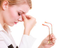 Headache. Woman suffering from head pain isolated. Royalty Free Stock Photography