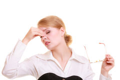 Headache. Woman suffering from head pain isolated. Headache, migraine and sinus ache. Stressed businesswoman worried young woman suffering from head or nose Stock Photos