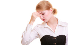 Headache. Woman suffering from head pain isolated. Royalty Free Stock Image