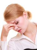 Headache. Woman suffering from head pain isolated. Stock Photography