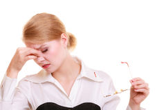 Headache. Woman suffering from head pain isolated. Headache, migraine and sinus ache. Stressed businesswoman worried young woman suffering from head or nose Royalty Free Stock Image