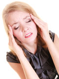 Headache. Woman suffering from head pain isolated. Stock Images
