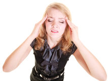 Headache. Woman suffering from head pain isolated. Headache, migraine and stress. Stressed businesswoman worried woman girl suffering from head pain isolated on Royalty Free Stock Image