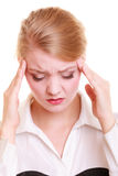 Headache. Woman suffering from head pain isolated. Royalty Free Stock Photo