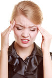 Headache. Woman suffering from head pain isolated. Stock Photos