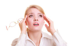Headache. Woman suffering from head pain isolated. Stock Image