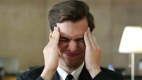 Headache at Work, Businessman Portrait in Office. Headache at Work, Businessman Portrait, Creative Designer stock footage