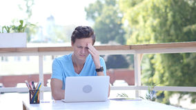 Headache of Work, Frustration, Tension Stressfor Young Man Stock Photos