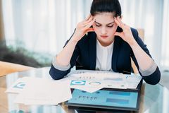 Headache work overload stress business woman paper royalty free stock image