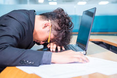 Headache and workhard. Busy and headache person, unsuccessful businessman Stock Image