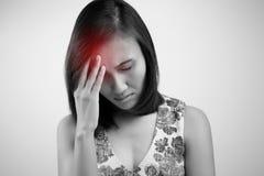 Headache. Young asian woman having a headache Stock Photos