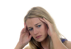 Headaches. Young blond woman has headaches Royalty Free Stock Photography