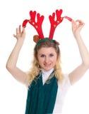 headband κοριτσιών φθορά ταράνδων Στοκ φωτογραφία με δικαίωμα ελεύθερης χρήσης