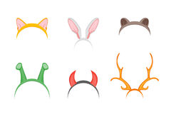 Headband with Ears Holiday Set. Vector Royalty Free Stock Photos