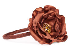 Headband isolated on white. Headband with artificial brown flower isolated on white Stock Photos