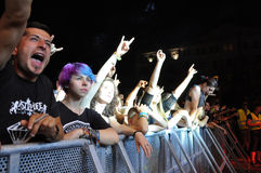 Headbanging crowd at a rock concert. CLUJ NAPOCA, ROMANIA – AUGUST 2, 2015: Headbanging crowd during a rock concert at the Untold Festival Stock Images