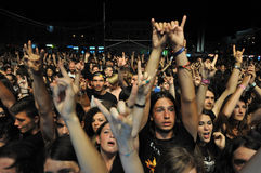 Headbanging crowd at a rock concert. CLUJ NAPOCA, ROMANIA – AUGUST 2, 2015: Headbanging crowd during a rock concert at the Untold Festival Stock Photography