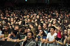 Headbanging crowd at a rock concert. CLUJ NAPOCA, ROMANIA – AUGUST 2, 2015: Headbanging crowd during a rock concert at the Untold Festival Royalty Free Stock Images