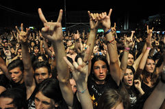 Headbanging crowd at a rock concert. CLUJ NAPOCA, ROMANIA – AUGUST 2, 2015: Headbanging crowd during a rock concert at the Untold Festival Royalty Free Stock Photos