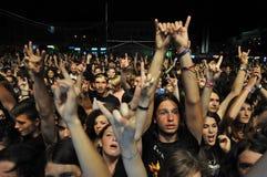 Headbanging crowd at a rock concert Stock Photography