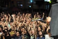 Headbanging crowd at a rock concert Stock Photo