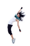 Headbanging modern style dancer. Posing on studio background Stock Photography